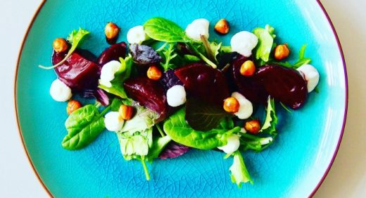 Glazed Roasted Beetroot with Goat's Curd & Caramelised Nuts