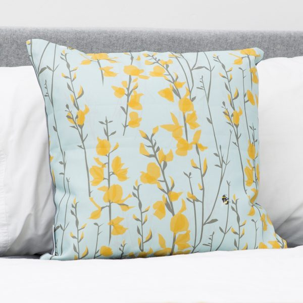 Broom & Bee Sky Cushion by Lorna Syson available from The Decorcafe Shop