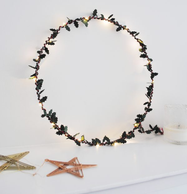 Holly Fairy Light Hoop lifestyle image by Melanie Porter available at The Decorcafe Shop