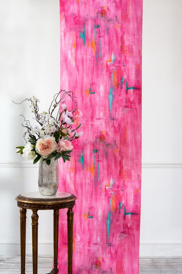 Perfumes of the Night Abstract Wallpaper in Indian Pink by Salon Libertine Available at The Decorcafe Shop
