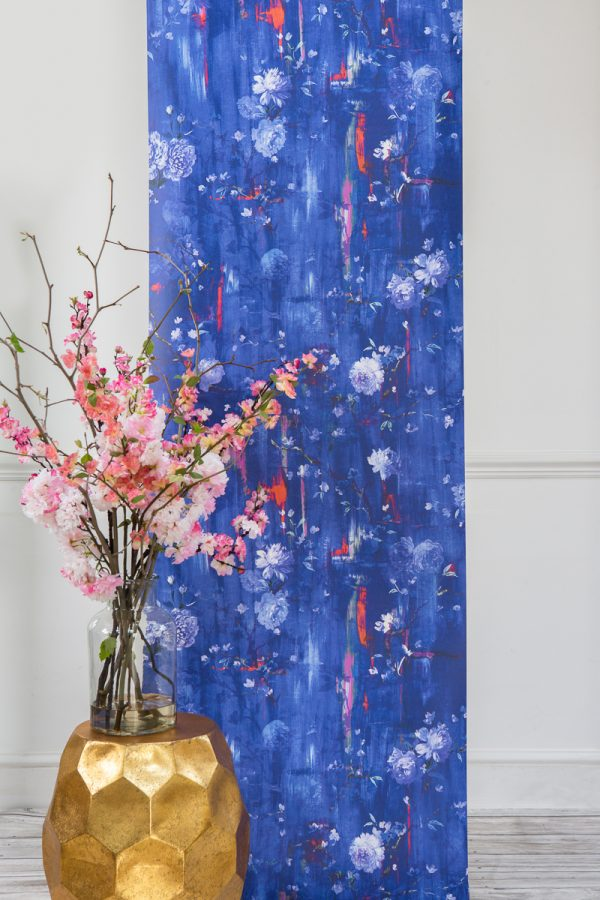 Perfumes of the Night Floral Wallpaper in Moroccan Blue by Salon Libertine Available at The Decorcafe Shop
