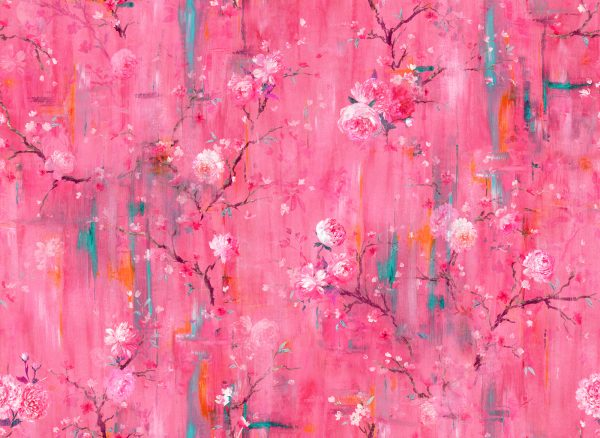Perfumes of the Night Floral Wallpaper in Indian Pink by Salon Libertine Available at The Decorcafe