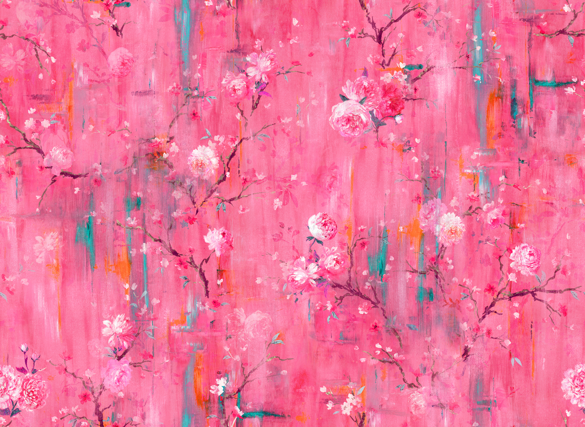 Perfumes Of The Night Indian Pink Floral Wallpaper Sample The