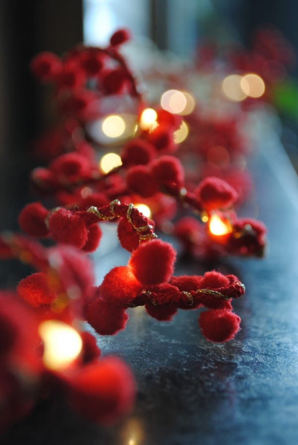PomPom Fairy Lights in Red by Melanie Porter available at The Decorcafe Shop