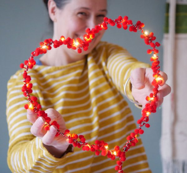 PomPom Fairy Light HeartLifestyle Image by Melanie Porter Available at The Decorcafe Shop