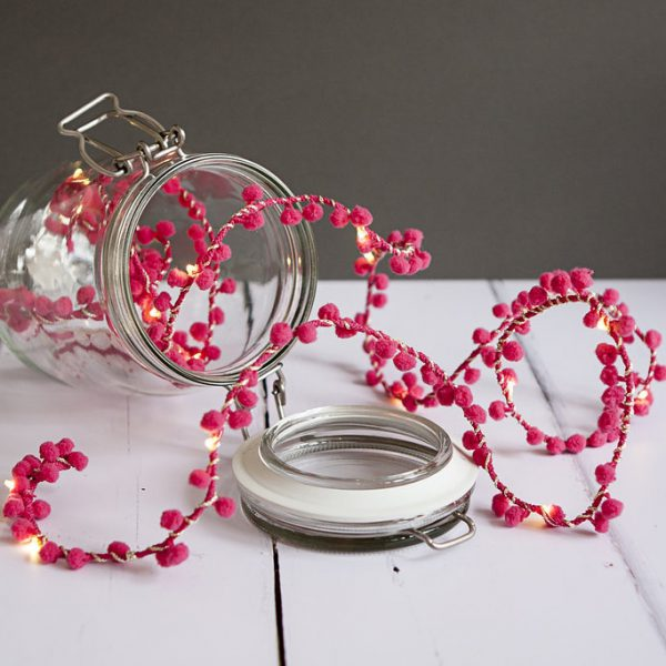 PomPom Fairy Lights in Neon Pink by Melanie Porter available at The Decorcafe Shop