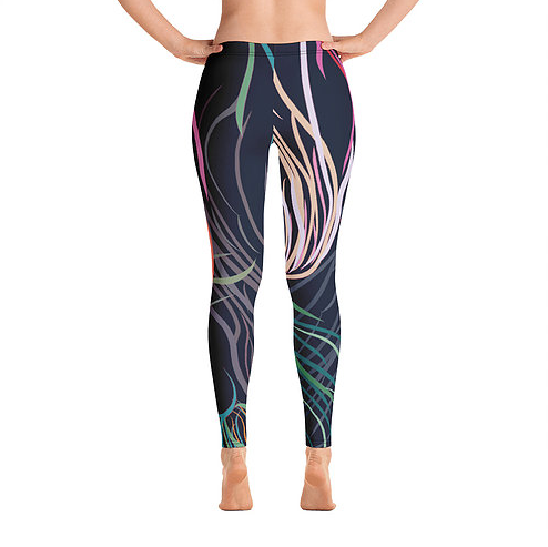 Grassed Leggings Full Length Rear View by Rebecca J Mills Available in The Decorcafe Shop