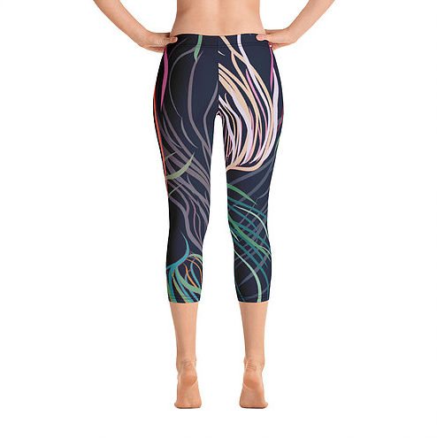 Grassed Leggings Yoga Capri Length Rear