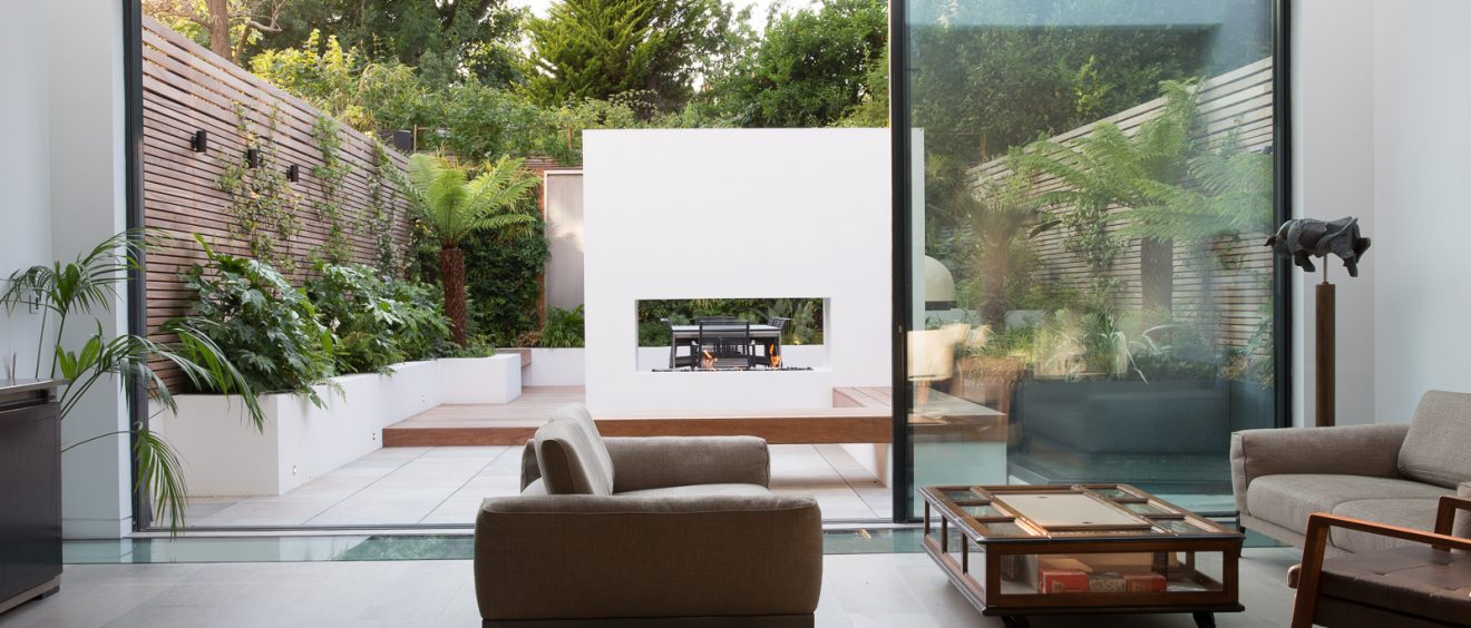 Sliding doors with landscaped garden