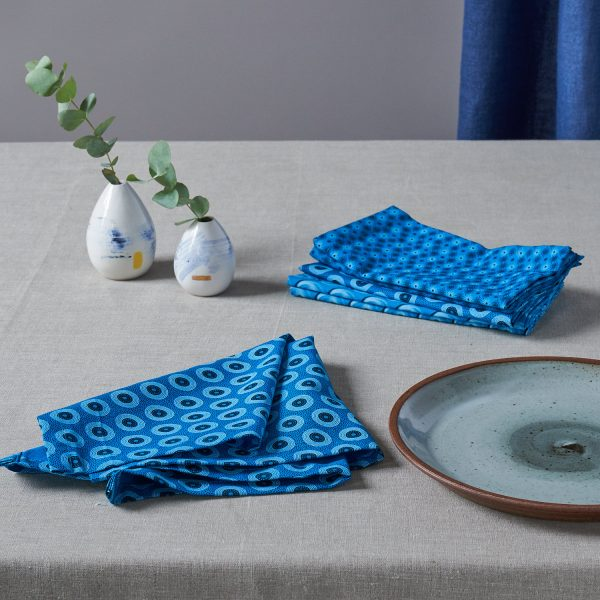 ShweShwe Set of 6 Napkins in Turquoise by Craft Editions available online at The Decorcafe