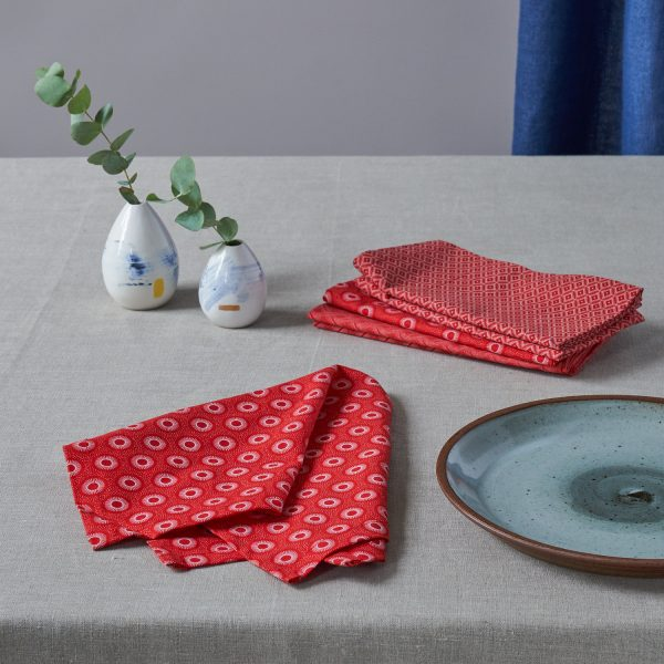 ShweShwe Set of 6 Napkins in Red by Craft Editions and available now from The Decorcafe Shop