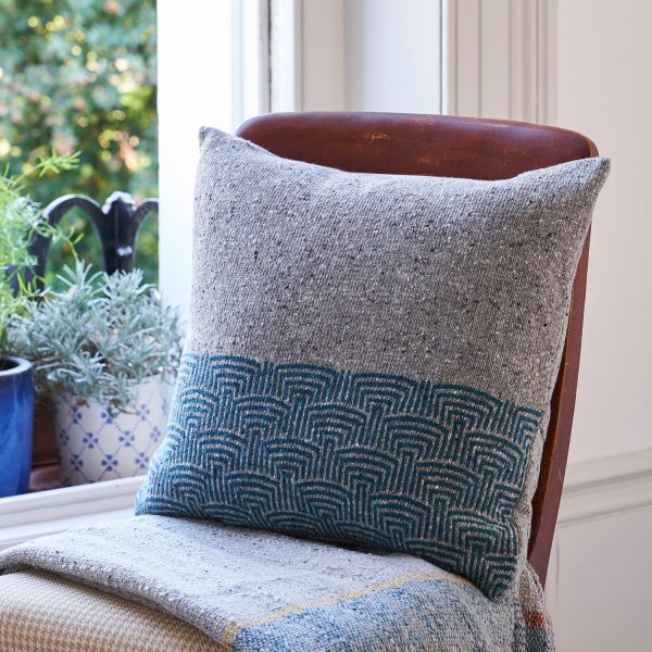Pebble Grey Cushion with Teal Pattern by Craft Editions available at The Decorcafe
