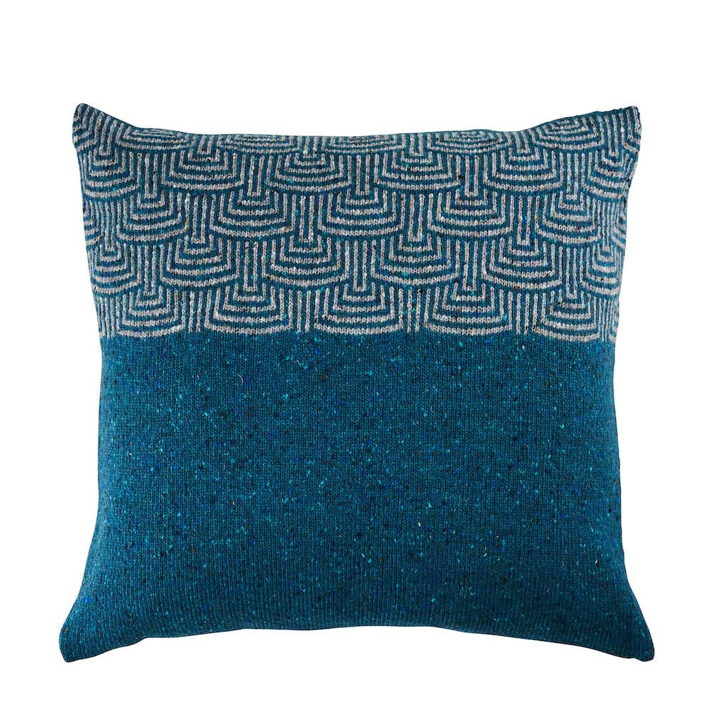 Pebble Teal Cushion with Grey Pattern by Craft Editions available at The Decorcafe