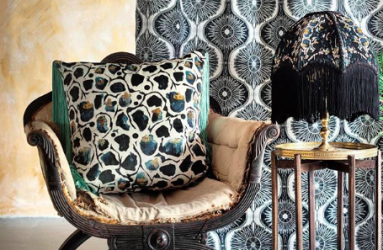 Gorgeous Print Cushion on Chair, Table Lamp and Curtain