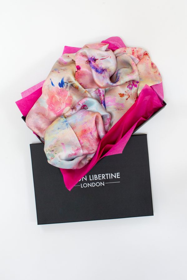 Fleeting Magnificence Floral Silk Scarf Gift Box by Salon Libertine Available at The Decorcafe Shop