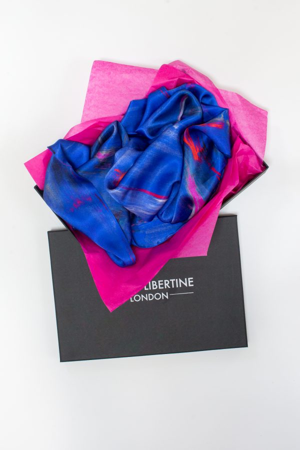 Perfumes of the Night Abstract Silk Scarf in Moroccan Blue Packaging by Salpn Libertine available at The Decorcafe Shop