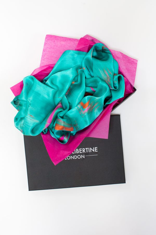 Perfumes of the Night Abstract Silk Scarf in Matisse Green Gift Box by Salon Libertine available at The Decorcafe