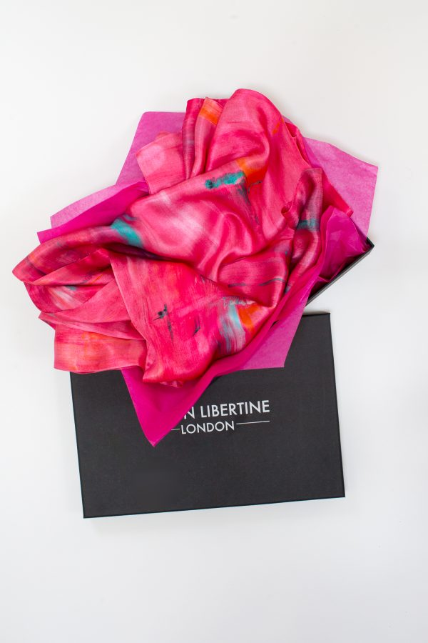 Perfumes of the Night Abstract Silk Scarf in Indian Pink Gift Box by Salon Libertine available at The Decorcafe Shop