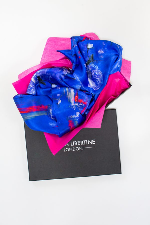 Perfumes of the Night Floral Silk Scarf in Moroccan Blue Packaging by Salon LIbertine at The Decorcafe Shop