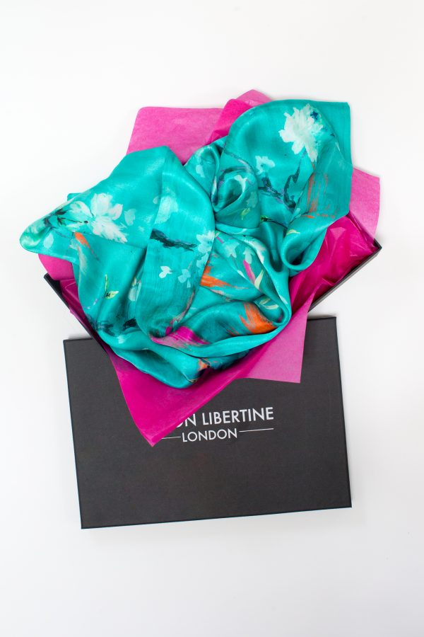 Perfumes of the Night Floral Silk Scarf in Matisse Green Gift Box by Salon Libertine available at The Decorcafe Shop