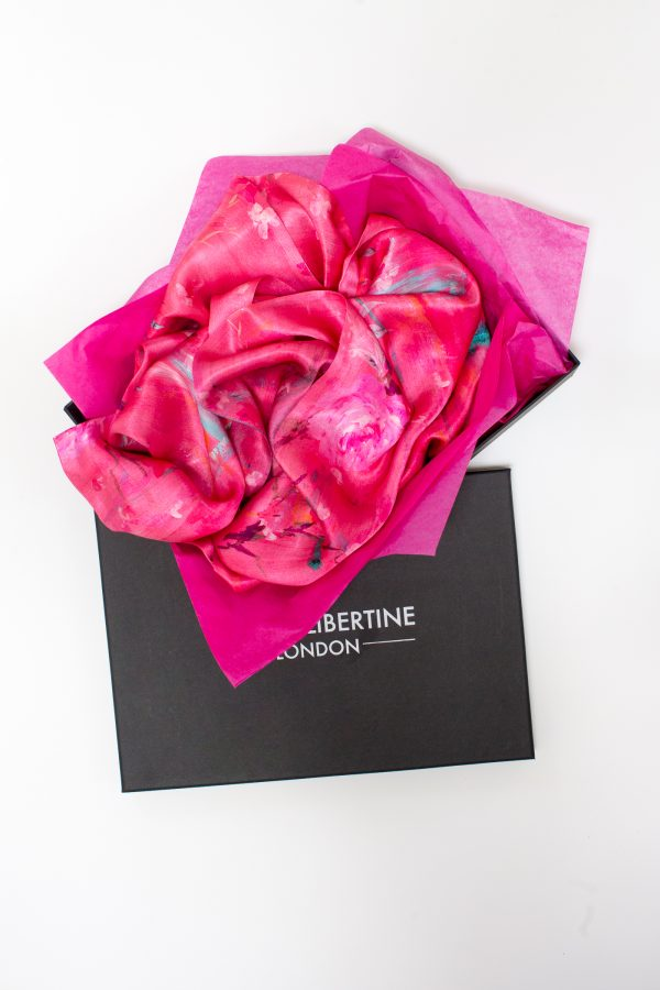 Perfumes of the Night Floral Silk Scarf in Indian Pink Gift Box by Salon Libertine Available at The Decorcafe Shop
