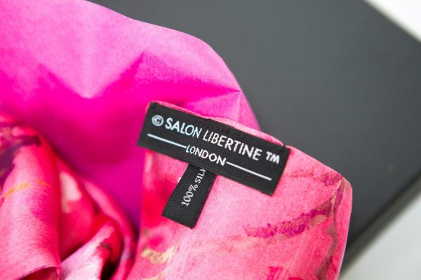 Perfumes of the Night Floral Silk Scarf in Indian Pink Label by Salon Libertine Available at The Decorcafe Shop