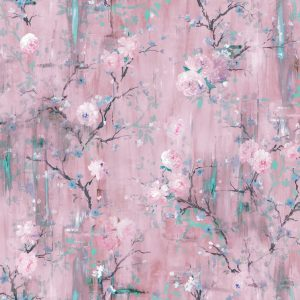 Perfumes of the Night Floral Wallpaper in Rococo Pink Available at The Decorcafe Shop