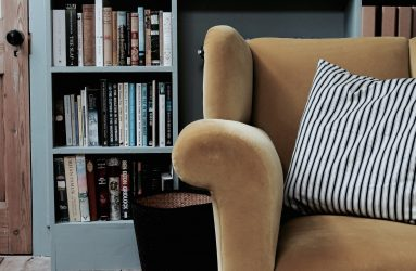 Reading corner in study, the Textured House