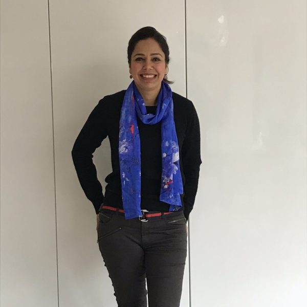 Perfumes of the Night Floral Silk Scarf in Moroccan Blue by Salon LIbertine at The Decorcafe Shop worn by Decorcafe member Anita Feron-Clark