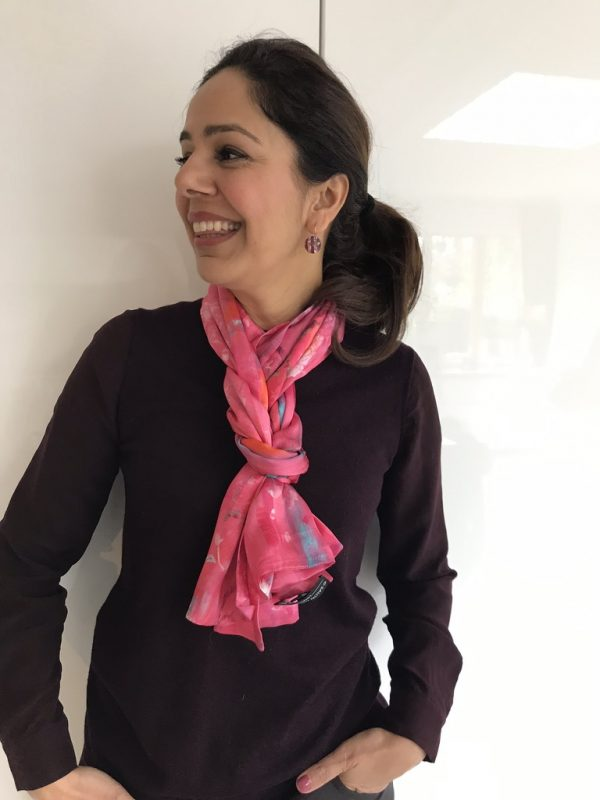 Perfumes of the Night Floral Silk Scarf in Indian Pink by Salon Libertine Available at The Decorcafe Shop modelled by Decorcafe Member Anita Feron-Clark