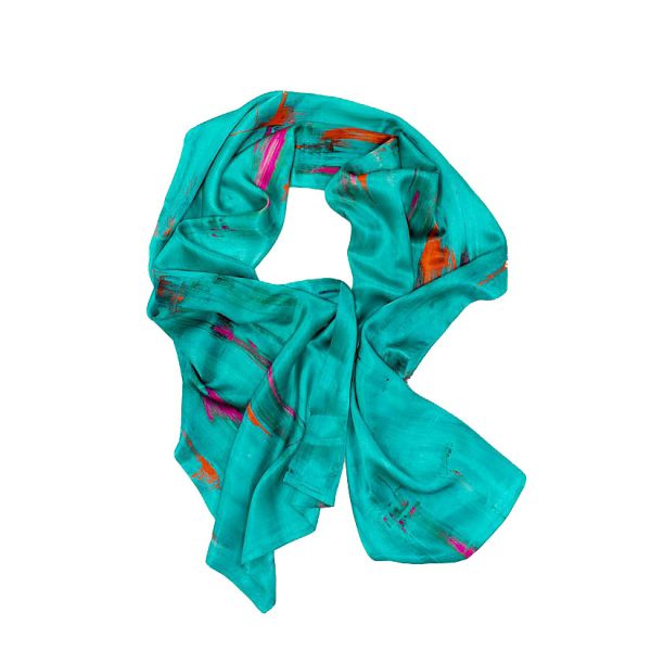 Perfumes of the Night Abstract Silk Scarf in Matisse Green by Salon Libertine available at The Decorcafe