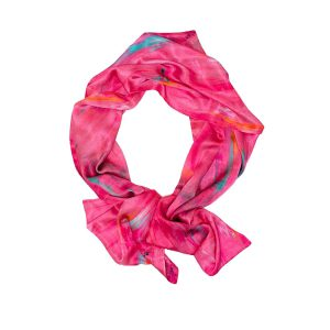 Perfumes of the Night Abstract Silk Scarf in Indian Pink by Salon Libertine available at The Decorcafe Shop