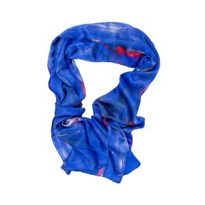 Perfumes of the Night Abstract Silk Scarf in Moroccan Blue by Salpn Libertine available at The Decorcafe Shop