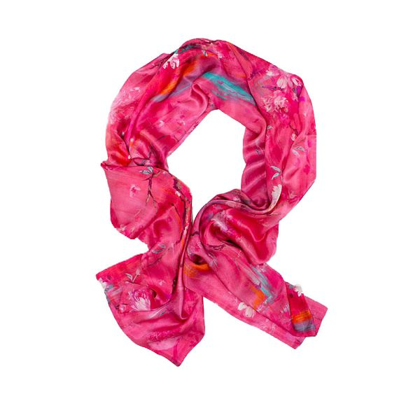 Perfumes of the Night Floral Silk Scarf in Indian Pink by Salon Libertine Available at The Decorcafe Shop