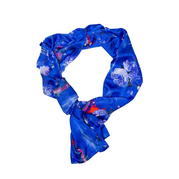 Perfumes of the Night Floral Silk Scarf in Moroccan Blue by Salon LIbertine at The Decorcafe Shop