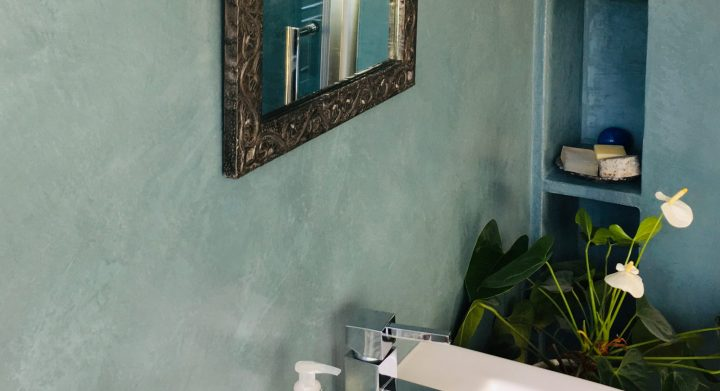 Pale Aqua Polished Plaster in a bathroom