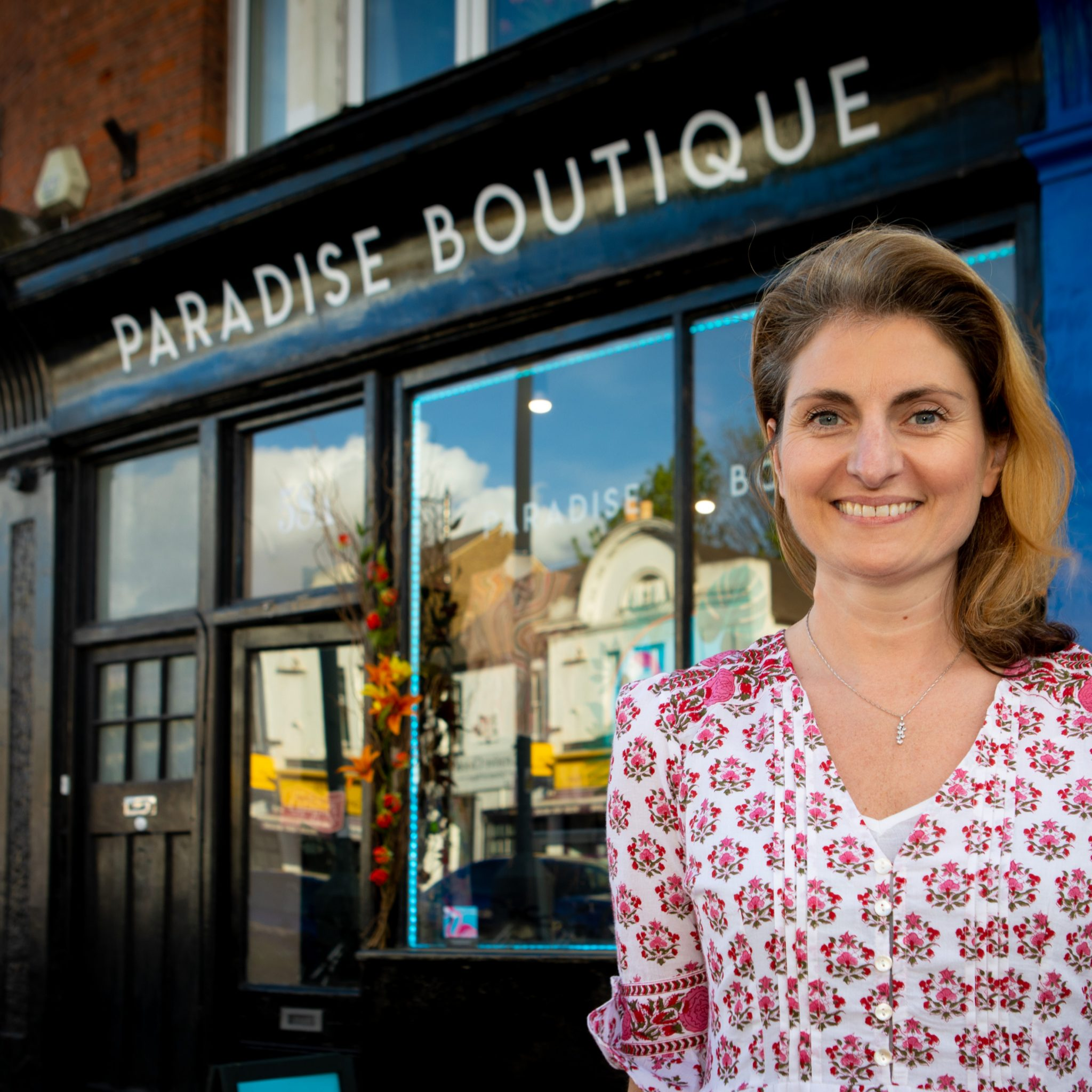 Helen Looker outside Paradise Boutique in East Molesey