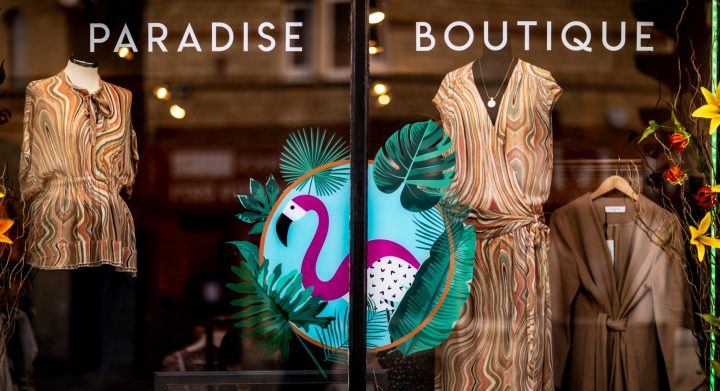 The shop window display at Paradise Boutique