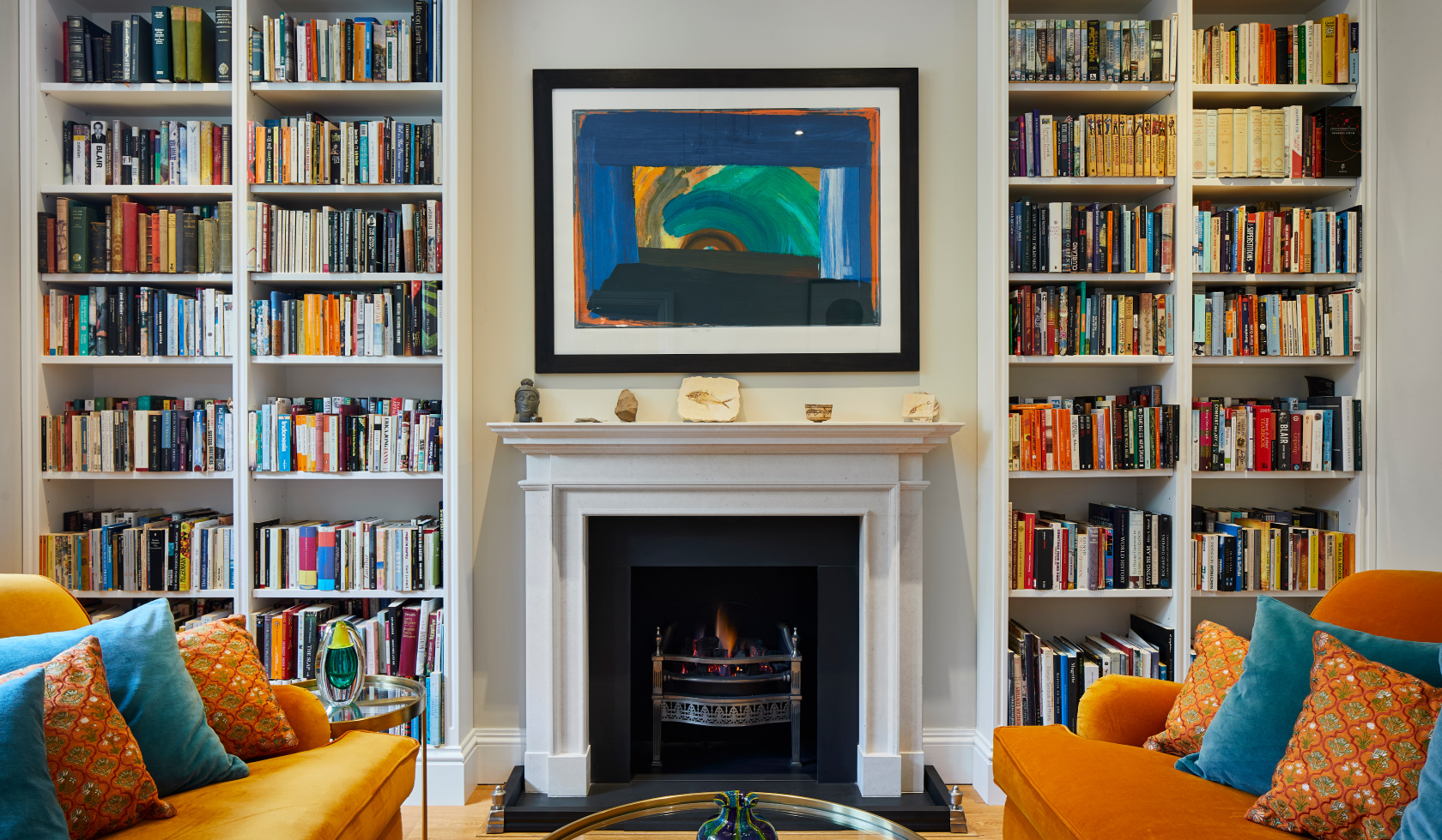 Home Library around fireplace