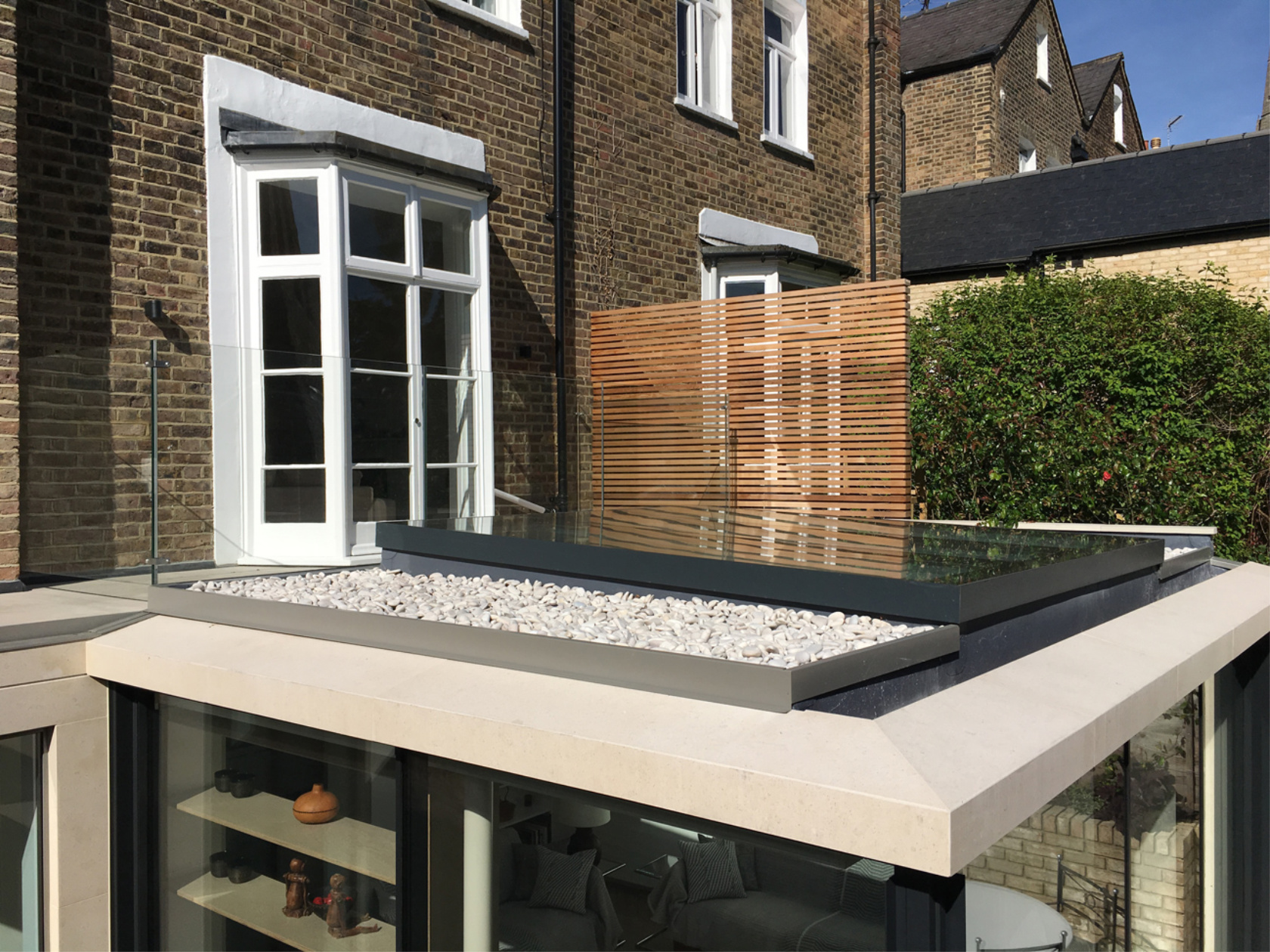Glass balustrade on roof terrace in richmond