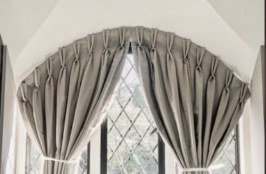 Curtains on curved window