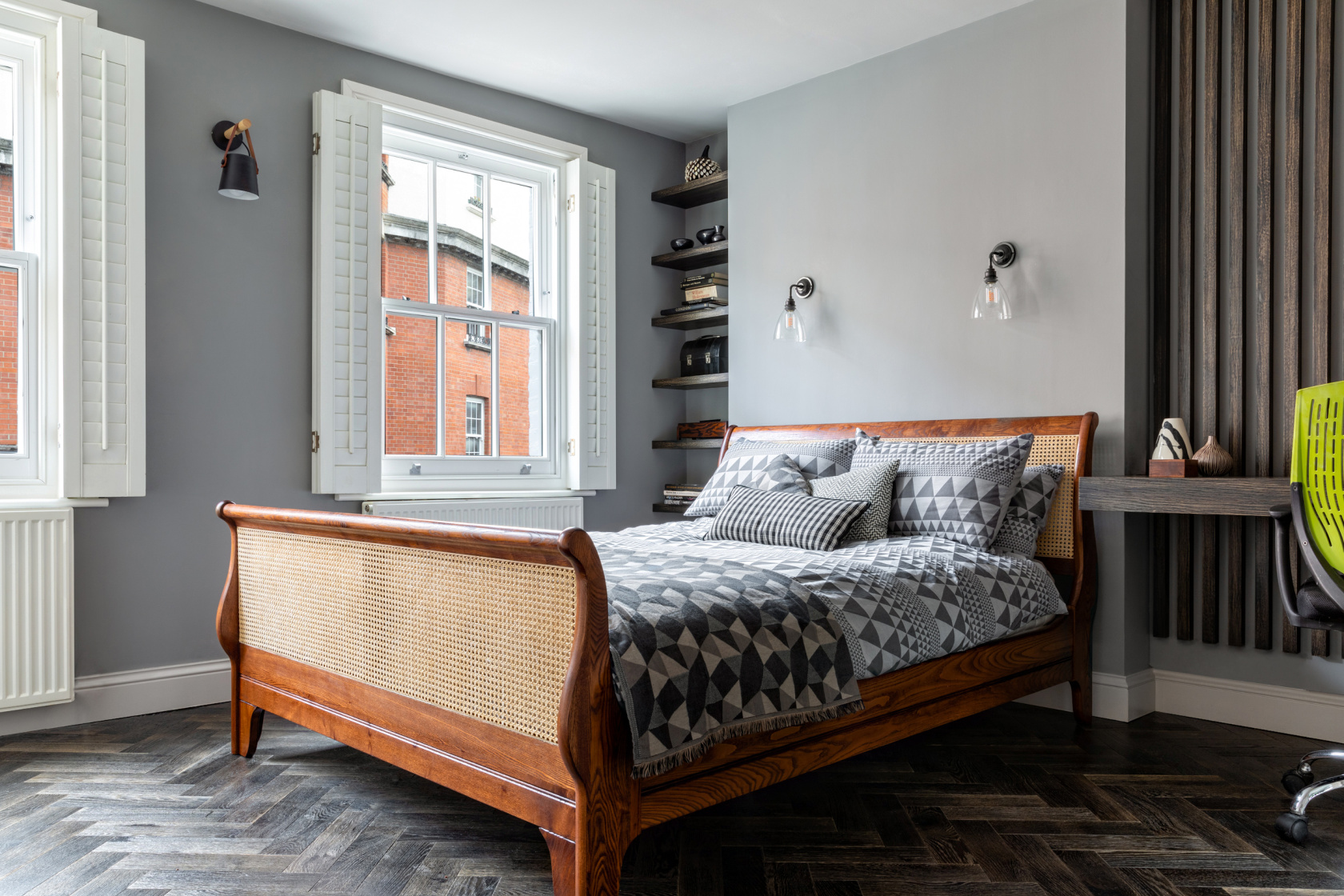 Grey bedroom with sleigh bed