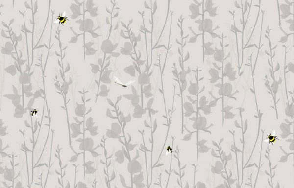 Broom & Bee Dusk Wallpaper by Lorna Syson available at The Decorcafe Shop