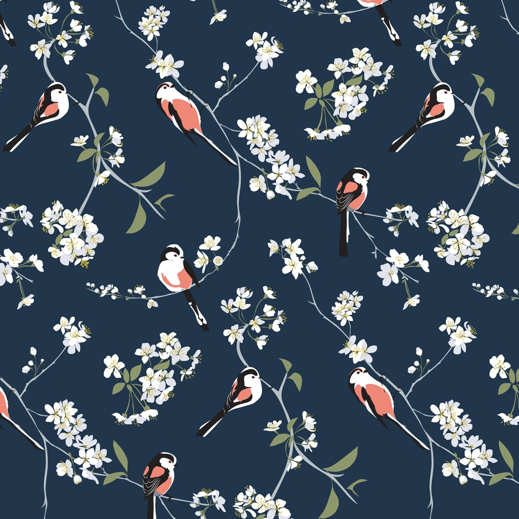 RSPB Blossom & Bird Navy wallpaper by Lorna Syson available at The Decorcafe Shop
