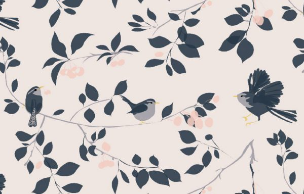 Wren & Cherry Wallpaper by Lorna Syson available at The Decorcafe