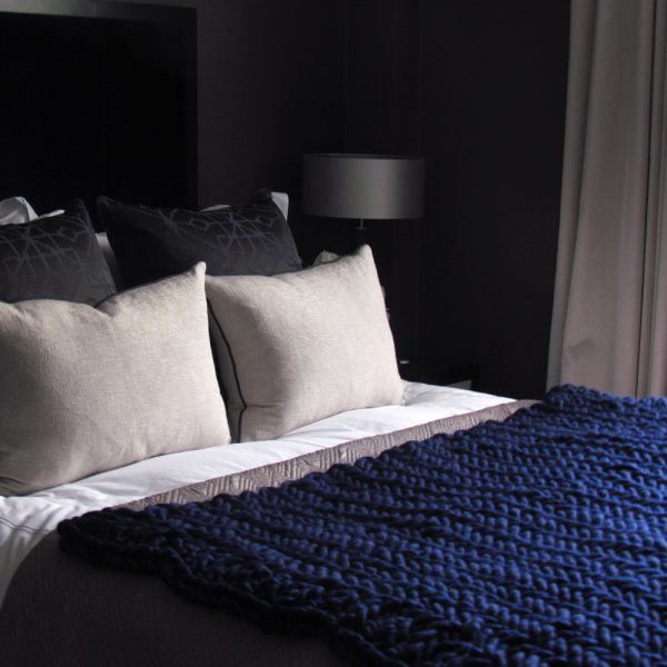 Alice Magnus Throw in Sapphire by Melanie Porter and available at The Decorcafe Shop