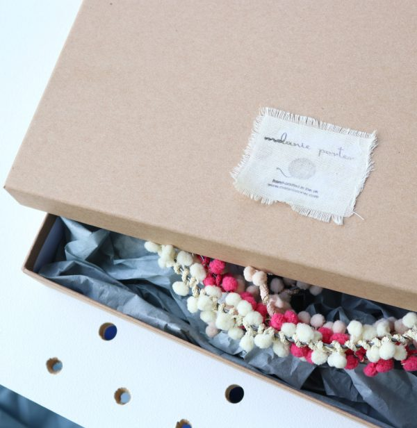 Personalised PomPom Fairy Light Hoop gift box by Melanie Porter available at The Decorcafe