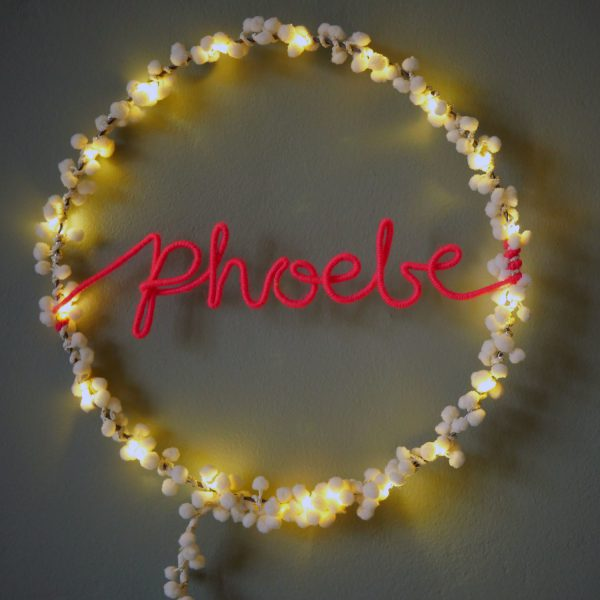 Personalised PomPom Fairy Light Hoop by Melanie Porter available at The Decorcafe