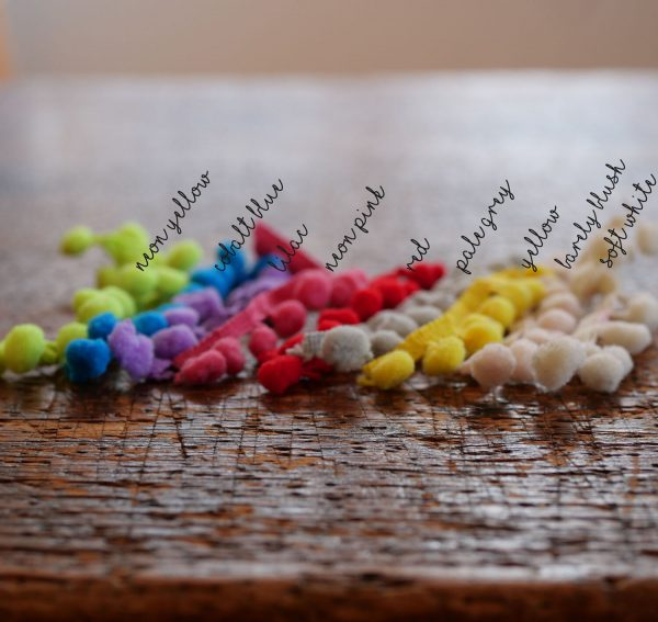 Personalised PomPom Fairy Light Hoop pompom colours by Melanie Porter available at The Decorcafe