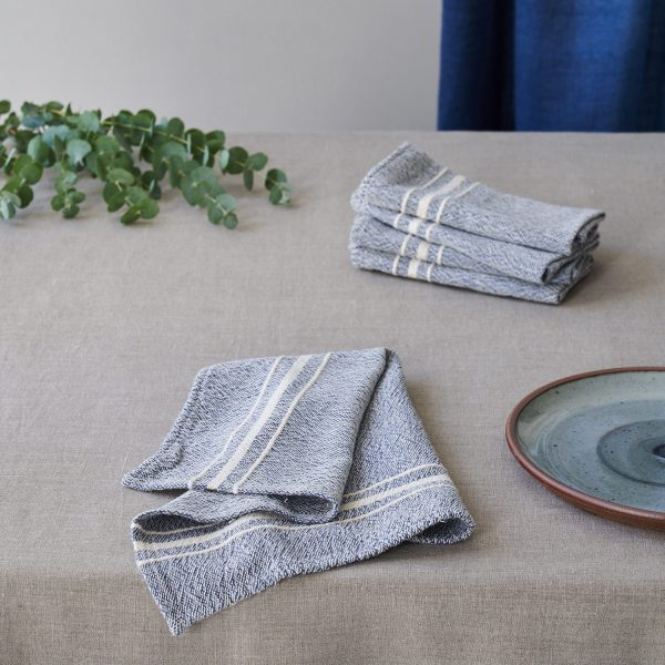 Barrydale Napkin by Craft Editions Indigo with Cream Stripes Available at The Decorcafe